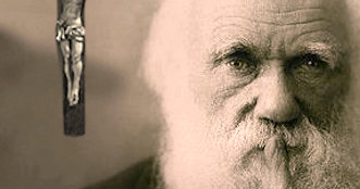 Charles Darwin with thinking finger to lips