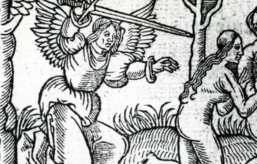 Woodcutting of a cherubim chasing Adam and Eve out of garden. ANgel